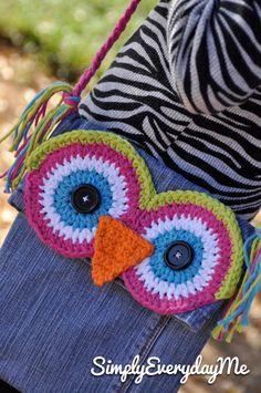 Up-cycle Owl Messenger Bag - Blue Jean Messenger Bag - Crochet via Etsy