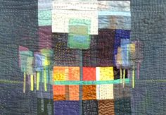 Abstract landscape quilt. Color + neutrals + hand quilting. Great format for up cycling other fabrics.