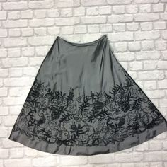 755bc2623d02a JAEGER LADIES UK 10 SKIRT GREY BLACK FADE FASHION PARTY EMBELLISHMENT  FLORAL  fashion  clothing