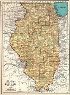 1937 Antique ILLINOIS Map Vintage Map of Illinois State Map Travel Gallery Wall Art Gift for Map Collector Birthday Wedding 8288