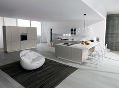 Cucina moderna FiloEscape di Euromobil: un'innovativa composizione con penisola e piano snack