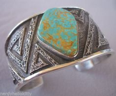 Signed NAVAJO Kings Manassa Turquoise & Sterling Silver TUFA CAST Cuff BRACELET, by Kevin Yazzie