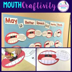 Create a fun mouth craftivity for better speech and hearing month. Turn your mouth craft into a bulletin board.