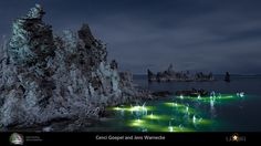 Light Painting and Landscape Photography: Mono Lake Tufa Reserve, Mono County, California, USA. Light Art Installation, Beach Cove, Light Painting, Artist Names, Three Dimensional, Landscape Photography, Backdrops, Beautiful Places, Ocean