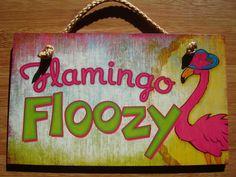 FLAMINGO FLOOZY Beach Hat Tropical Pink Flamingos Home Decor Sign NEW #Tropical