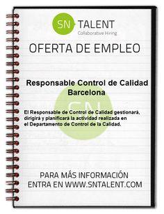 #Empleo R#esponsable Control de #Calidad en #Barcelona