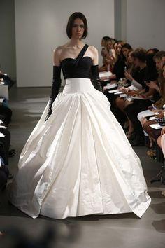 Vera Wang 2014 Bridal Collection - New York Bridal Fashion Week, asymmetric-black-bodice