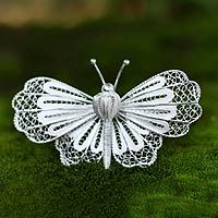 Sterling silver brooch, 'Queen Butterfly' by NOVICA
