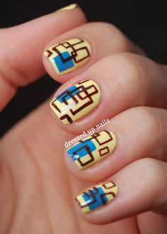 Dressed Up Nails - square pattern nail art with China Glaze Lemon Fizz