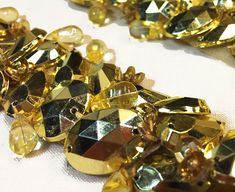 Jewel Trim with Faceted Gold Acrylic Jewels and Bead Embellishments on Backing for Embellished Costumes Sewing Projects