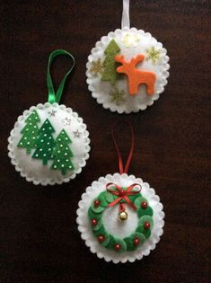 Christmas baubles You are in the right place about Diy Felt Ornaments how to make Here we offer you Christmas Projects, Felt Crafts, Holiday Crafts, Felt Christmas Decorations, Felt Christmas Ornaments, Homemade Christmas, Christmas Crafts, Christmas Star, Theme Noel