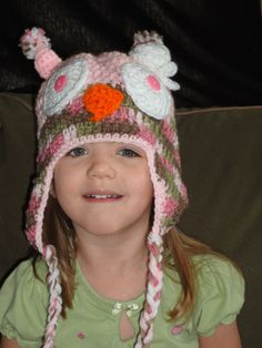 Crochet Girly Girl Pink Camo Owl Hat With Flower Sized by sewcroco, $15.80