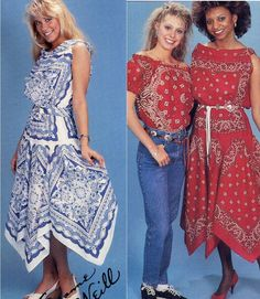 Vintage 1989 Bandana Bonanza Fashion Booklet--Making Scarf Dresses, Skirts, Tops and More--PLUS Two More Scarf and Bandana Patterns. $4.95, via Etsy.