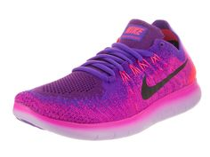 premium selection f746c af3d7 Nike Women s Free Rn Flyknit 2017 Fire Pink Black Hyper Grape Running Shoe  10 Women