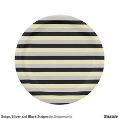 Beige, Silver and Black Stripes Paper Plate