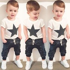USA Kids Baby Boys Camo Denim Outfits Tops T-shirt Pants Trousers Clothes Set - Kindermode Ideen 2019 Boys Clothes Style, Baby Boy Clothing Sets, Kids Clothing Brands, Baby Kids Clothes, Girl Clothing, Summer Clothes, Children Clothing, Ebay Clothing, Casual Clothes