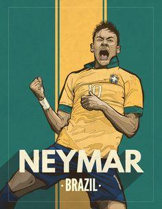 Vintage Illustrations on Behance Neymar Football, Football Art, Neymar Jr, Football Players, Soccer Drawing, Neymar Brazil, Batman Armor, Emoji Images, Sports Graphics