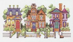 Feel the charm of Victorian architecture with this row of houses beautifully displayed in Janlynn's counted cross stitch kit.