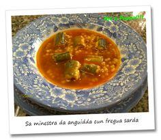 """""""Sa minestra da anguidda cun fregua sarda"""", ossia """"minestra di anguilla con fregola sarda"""". Un piatto delicato ma dal sapore ricco, conferito dallo zafferano, dalla fregola fatta a mano e dalla regina del piatto: l'anguilla. """"Sa anguidda cun fregua Sarda"""", or """"eel soup with Sardinian fregola"""". A delicate dish but rich of flavor, conferred by the saffron, by the handmade fregola and by the queen of the plate: the eel."""