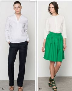 1: White shirt+black pants+brown ankle strap heeled sandals. 2: White top+green skirt+lace up heeled sandals. Summer work outfits 2016