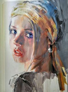 Abstract Face Art, Abstract Portrait, L'art Du Portrait, Portraits, Art Visage, Popular Paintings, Black And White Painting, Painting People, Inspiration Art