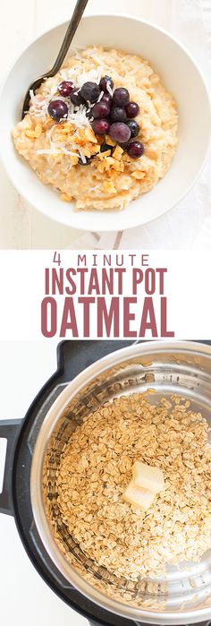 Make Instant Pot oatmeal using rolled oats instead of steel-cut for super easy breakfasts. Top with bananas, stir-in pumpkin or even apples and cinnamon! :: DontWastetheCrumbs.com