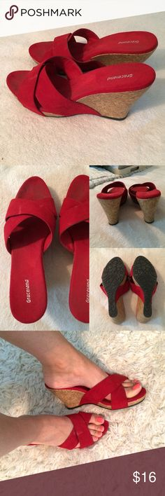 Red Wedge Sandals  Super comfy. Rarely worn but have few stains as shown on last picture. Says size 40 Euro but better for 8.5 US. Graceland Shoes Wedges