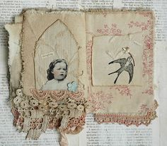 MIXED MEDIA FABRIC COLLAGE BOOK OF GIRLS AND NESTS | eBay