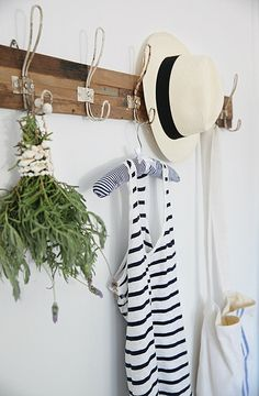 Coat hanger styling by A Beach Cottage