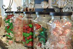 s don t throw out that glass jar before you see these christmas ideas, christmas decorations, Add crystal knobs for adorable candy jars Christmas Jars, Christmas Candy, Diy Christmas Gifts, Christmas Ideas, Christmas Decorations, Holiday Decor, Christmas Stuff, Christmas 2019, Holiday Fun