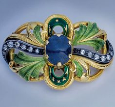 Art Nouveau Sapphire Diamond Enamel Gold Brooch - Antique Jewelry | Vintage Rings | Faberge Eggs