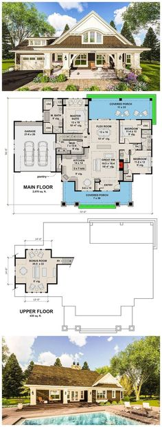 Craftsman House with 2 Large Porches - House Plans, Home Plan Designs, Floor Plans and Blueprints Craftsman Style Homes, Craftsman House Plans, New House Plans, Dream House Plans, My Dream Home, Bungalow Floor Plans, Craftsman Interior, Bungalow Cottage House Plans, Dream Homes