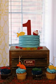 Gone fishing. The big one. Officially one. Birthday party. Country. Smash cake.