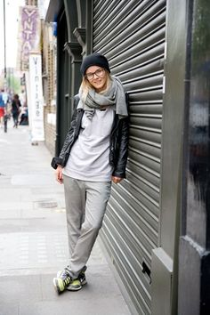 """Lisa Kern, student  """"My hat is from COS and the scarf is vintage. I'm also wearing Topshop trousers with Nike trainers and glasses that were my mum's."""""""