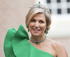 Queen Maxima in green Lanvin and emerald tiara.
