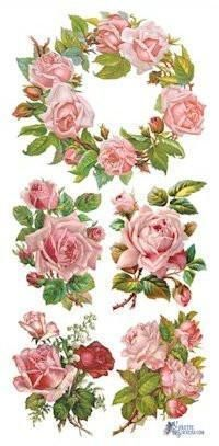 Rose Wreath Victorian Stickers - Roses And Teacups