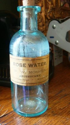 Vintage Antique Corked Glass Rose Water Old Bottle by Verbayna, $14.99