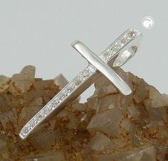 Anhänger, Kreuz mit Zirkonias Silber 925  Längsseite mit vielen Zirkonias