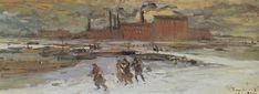 Konstantin Korovin (Russian 1861–1939) [Impressionism, Art Nouveau] Landscape with factory buildings, 1908.
