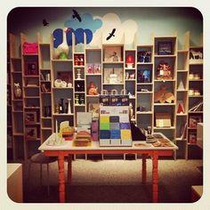 hrimhonnunarhus #laugavegur #iceland #hrimhonnunarhus shop display, wood crates as visual merchandising. Kids shop. Kids room.