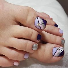Pedicure designs, pedicure nail art, toe nail art, easy nail art, o Pretty Toe Nails, Cute Toe Nails, Toe Nail Art, Easy Nail Art, My Nails, Toenail Art Designs, Pedicure Designs, Manicure E Pedicure, Toe Nail Designs