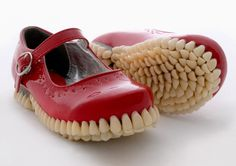 Apex Predator, A Super Creepy Sculpture Series Featuring Shoes With Soles Covered in False Teeth