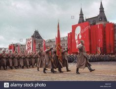 Soviet Army soldiers dressed in Russian Civil War-era Red Army Uniforms marching through Red Square at the 1987 Moscow October Revolution Day Parade.