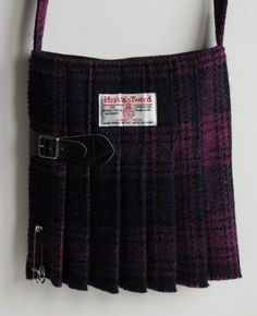 Medium Harris Tweed Kilt Bag in purple and deep blue tartan