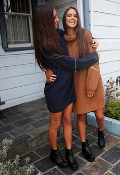 Sisterly love ☺️ Shop the 'Fameless Knit' Elisha + Renee Herbert are wearing from Peppermayo.com