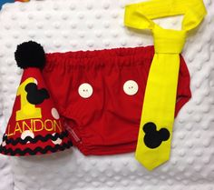 Cake Smash Outfit - Mickey Mouse - Embroidered Hat, Diaper Cover & Tie - Photo Prop by SlickandBoogers on Etsy https://www.etsy.com/listing/175292654/cake-smash-outfit-mickey-mouse