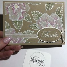 handmade thank you card . Good Morning Magnolia white heat embossed on kraft . luv the watercolor whitewash look she used to color them . Stampin' Up! Thanks Card, Stamping Up Cards, Rubber Stamping, Embossed Cards, Stampin Up Catalog, Tampons, Handmade Birthday Cards, Paper Cards, Art Cards