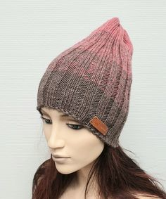 Items similar to Ribbet Beanie hat Knit winter gradient Womens slouchy knit hat Wool knit cap Gift for her Christmas gift Free shippig on Etsy Crochet Accessories, Beanie Hats, Knitted Hats, Knit Crochet, Gifts For Her, Christmas Gifts, Cap, Wool, Knitting