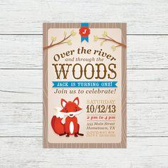 Woodland Fox Birthday Invitation First by PrintsForEvents on Etsy