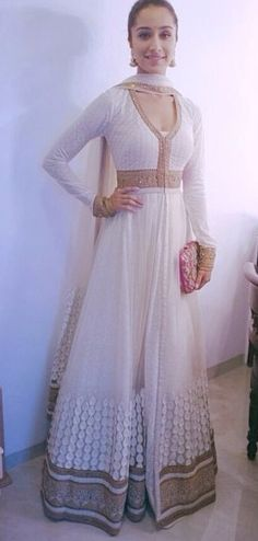 Shraddha Kapoor white floor length anarkali suit